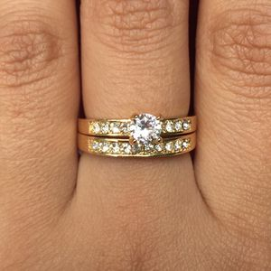 Gold plated wedding engagement ring band set size 789 available jewelry accessory for Sale in Silver Spring, MD