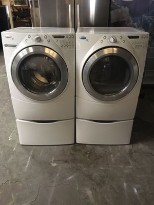 Set washer and dryer brand whirlpool electric dryer everything is good working condition 90 days warranty delivery and installation for Sale in San Lorenzo, CA