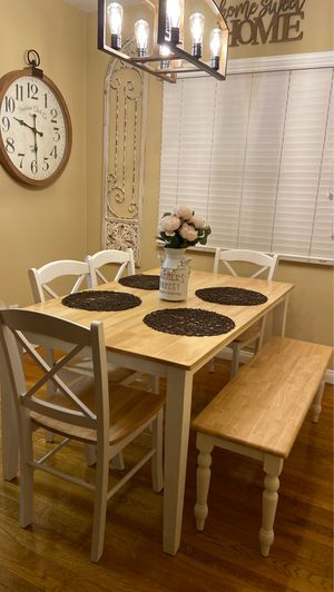 Farmhouse dining table with bench for Sale in Los Angeles, CA