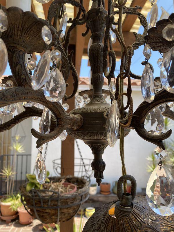 Vintage French brass candelabra chandelier (10light)