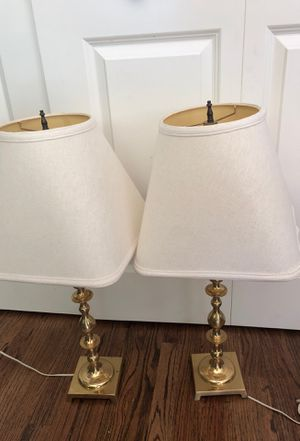 2 Vintage Brass Table lamps with shades excellent for Sale in Tacoma, WA