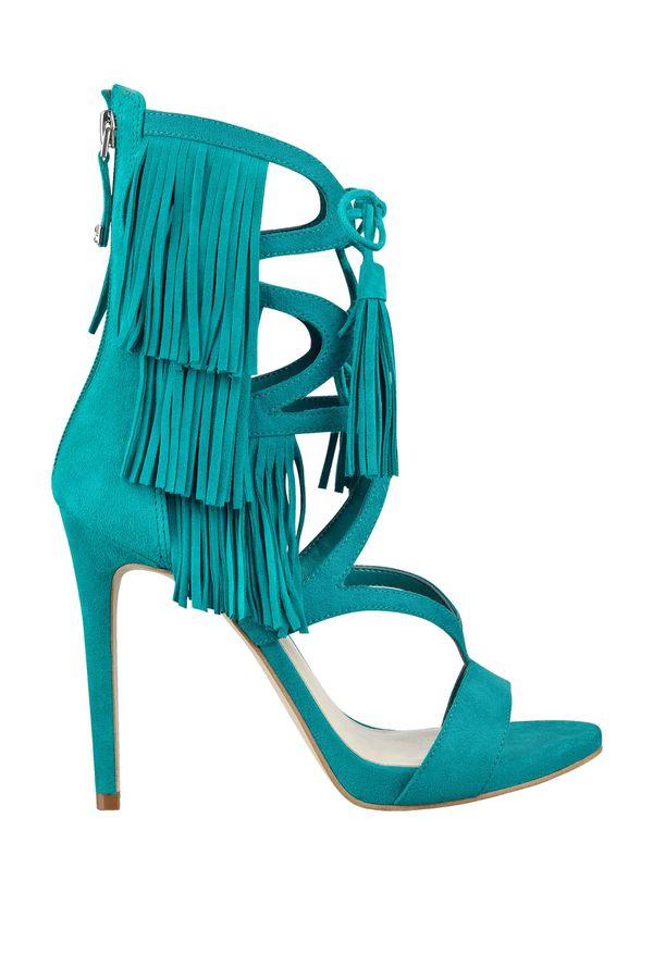 Green Fringe Heels
