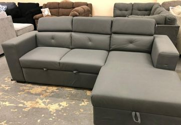 🎁BRAND NEW 🎗Salado Gray Sleeper Sectional with Storage 163 for Sale in Laurel,  MD