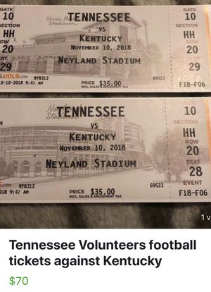 2 UT football tickets against Kentucky for Sale in Knoxville, TN