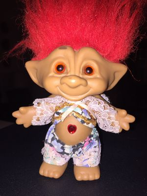 Vintage Troll By Ace Novelty Co. , Wih Jeweled Belly Button And Clothes. Beautiful Condition for Sale in Castle Hills, TX