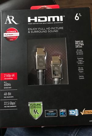 Acoustic Research ARPH6 Platinum Series 6ft HDMI 4K High Definition Cable, New! for Sale in Cicero, IL