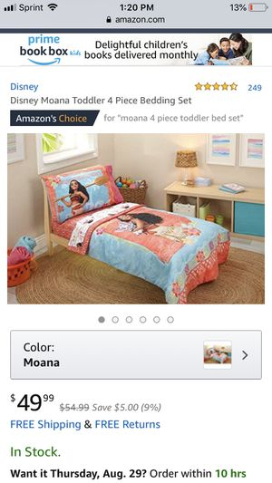 Disney Moana toddler 4 piece bedding set for Sale in Wheaton, IL