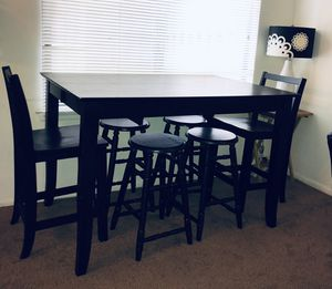 BLACK HIGH DINING TABLE —. CAN BE EXTENDED TO MAKE TABLE BIGGER TOO.- - ( 4 stools and 2 chairs included) - - SEE MEASUREMENTS BELOW for Sale in Maple Shade Township, NJ