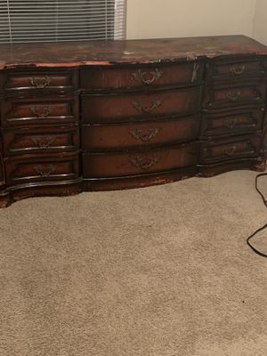 Antique Dresser with Mirror and Armoire Also have King Headboard for Sale in Jonesboro, GA