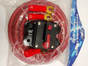 Car Audio accessories : 4 gauge 20 feet ( OFC )Oxygen Free Copper Cable power cable & 200a circuit breaker 3 ring terminals brand new for Sale in Bell Gardens, CA