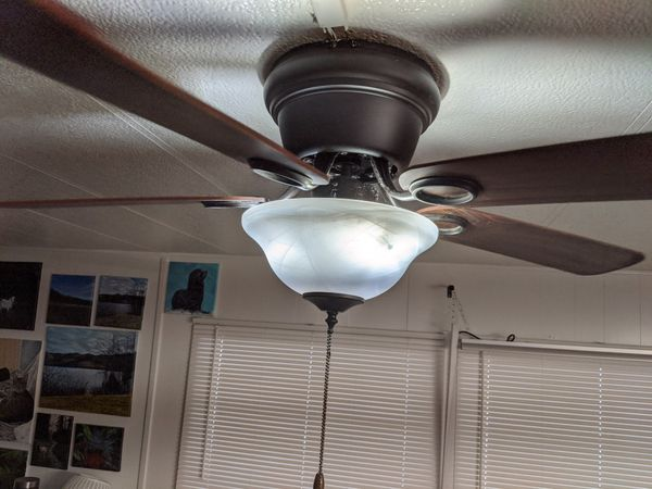 """3 ceiling fans 42""""blades with led bulbs"""