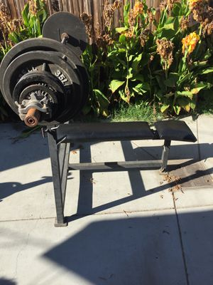 OLYMPIC BENCH PRESS WEIGHT GYM SET-UP EXCELLENT CONDITION , 7ft OLYMPIC BAR for Sale in Buena Park, CA
