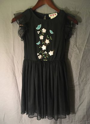 Girls Black dress size 10 with embroidered flowers and butterflies for Sale in Fullerton, CA