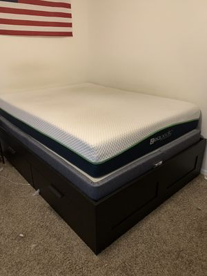 Queen Ikea bed frame with Mattress and box spring for Sale in Tampa, FL