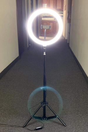 New in box 10 inches Ring LED Light Warm and Cold 3000 to 6500K USB with Adjustable Tripod 59 inches tall and Controller Video Maker Phone Camera Hol for Sale in Covina, CA
