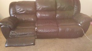 Used black leather couch, new with tag fishing pole, used tackle box and 32 inch tv for Sale in Las Vegas, NV