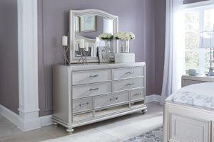 Coralayne - Silver - 7 Pc. - Dresser, Mirror, Queen UPH Panel Bed & 2 Nightstands for Sale in Naples, FL