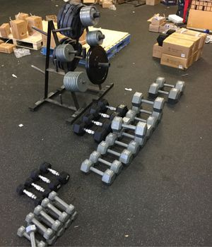 Hex dumbbells and plate weight brand new in stock limited quantities left for Sale in Phoenix, AZ
