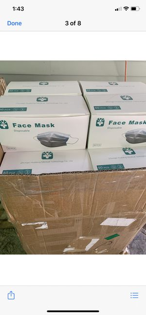Face mask pack of 50 for$20 each for Sale in Waterbury, CT