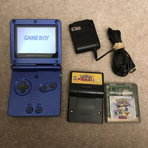 Blue gameboy advance sp with 2 games pokemon pinball puzzle challenge with charger for Sale in Silver Spring, MD