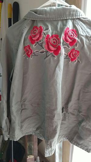 XL Ladies Olive Jacket w/ Roses on Back for Sale in Sebastian, FL