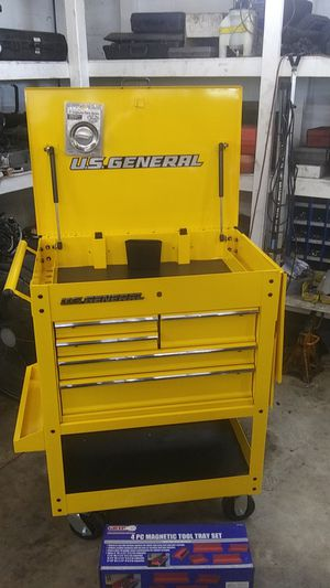 US General 5 Drawer Tool Cart yellow with extras NEW! for Sale in Port Richey, FL
