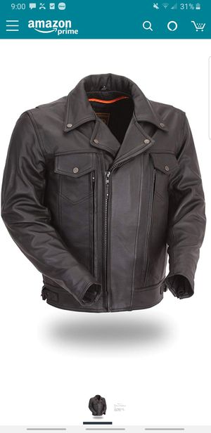 Brand New First Mnfg Classic Utility leather motorcycle jacket and vest men's XL for Sale in Romeoville, IL
