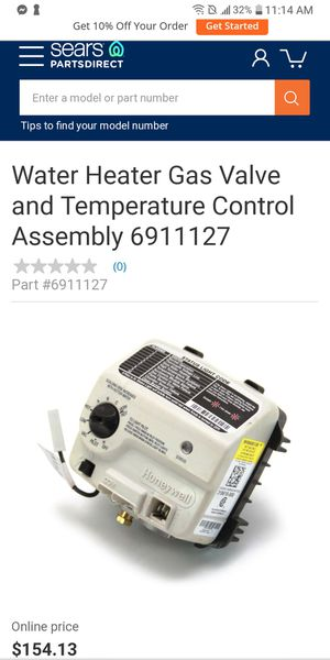 Water Heater Gas Valve and Temperature Control Assembly for Sale in Fresno, CA