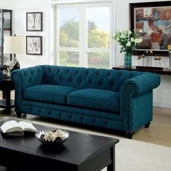 DARK TEAL CHESTERFIELD STYLE TUFTED NAILHEAD ACCENTS ROLLED ARMS SOFA COUCH - SILLON for Sale in Ontario,  CA