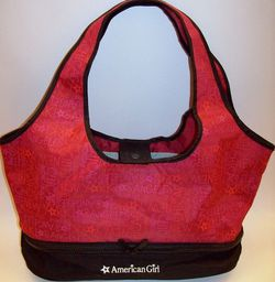 AMERICAN GIRL DOLL TOTE BAG CARRIER TRAVEL CARRYNG CASE RED BLACK CITY. for Sale in Colma,  CA