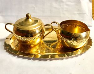 24 K Gold Plated 4 Piece Set of Creamer , Sugar & Lid, on a Serving Tray. for Sale in Deltona, FL