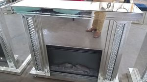 Mirror fireplace TV stand free storage until Christmas for Sale in Dallas, TX