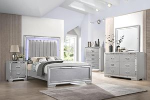 Brand new queen size bedroom set with led light $1099 for Sale in Hialeah, FL