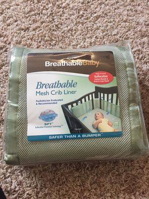 Sage green crib liner for Sale in San Diego, CA