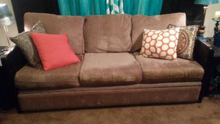 Couch. & love sear...tan with wood sides. 35 obo for Sale in Murray,  UT