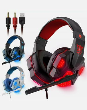 For PS4 Xbox Nintendo Switch PC 3.5mm Stereo Headphones Mic LED Gaming Heads for Sale in Downey, CA