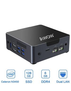 Mini PC AWOW Desktop Computer Intel Celeron N3450 Windows 10 6GB DDR4 128GB SSD/Dual LAN/ 2.4G+5G Dual Band WiFi/4K /Bluetooth/HDMI/5 USB3.0 Ports Mi for Sale in Miami, FL