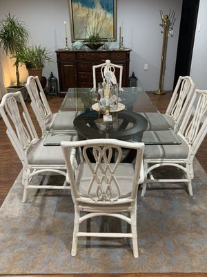Ratan white chairs-Glass top table for Sale in Milton, DE