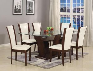 [SPECIAL] Camelia White/Brown Recictangular Dining Set | 1210 for Sale in Jessup, MD