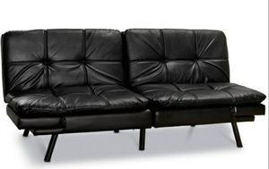 Mainstays Memory Foam Futon, Black Leather for Sale in Houston, TX