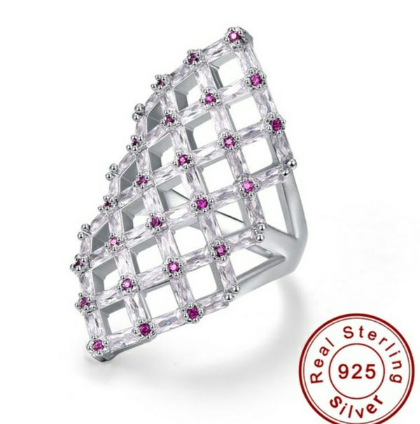 Ruby & Amethyst 100% Solid 925 Sterling Silver Ring