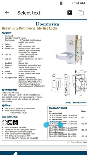 Mortise lock, dmhtouch lock, and schlage door handles for Sale in Riverside, CA