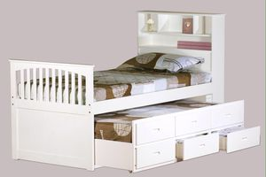Avalon White Twin Bookcase Captain's Bed with Trundle & 3 Storage Drawers for Sale in Houston, TX
