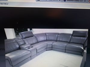 SECTIONAL WITH POWER RECLINERS BLACK REAL LEATHER FROM EL DORADO LIKE NEW for Sale in Medley, FL
