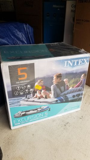 Intex Excursion 5 Inflatable Boat Set w/ Aluminum Oars and High Output Air Pump IN HAND! PICK UP ONLY for Sale in Leonia, NJ