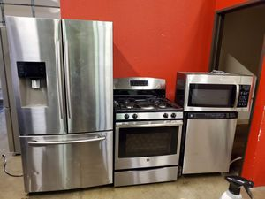 Stainless steel appliances set fridge GAS stove dishwasher microwave all good working conditions set for $899 for Sale in Denver, CO