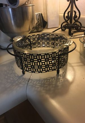 Pyrex glass dish with striking black geometric holder, antiique for Sale in San Antonio, TX