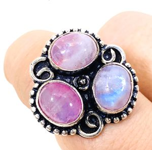 Natural fiery pink rainbow 🌈 Moonstones & .925 stamped sterling silver ring size 8 NEW! for Sale in Carrollton, TX