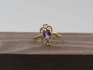 Size 5.5 10K Yellow Gold Amethyst & CZ Band Ring Vintage Estate Wedding Engagement Anniversary Gift Idea Beautiful Elegant Unique Cute for Sale in Lynnwood, WA