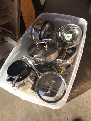 Large bin of like- new pots and pans for Sale in Billerica, MA